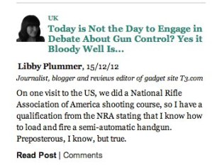 Huffington Post gun control blog post
