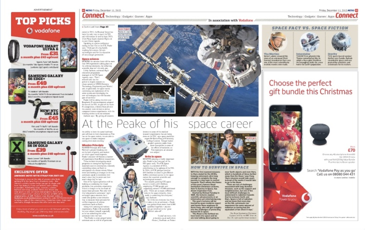 Tim Peake Metro Pages 2 and 3